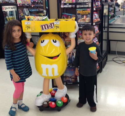 At the grocery store, just because you have to take a picture when there's a giant M&M
