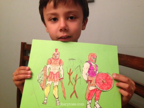 Learning about Greek Warriors (yes he made himself into a warrior too)